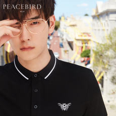 Peace Bird Men's 2018 Summer New Bee Embroidery Shirt Lapel POLO Shirt Men's Short Sleeve Paul Shirt
