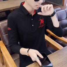 Autumn men's long-sleeved t-shirt Lapel large size polo shirt male Slim Korean version of the trend of youth compassionate men's clothing
