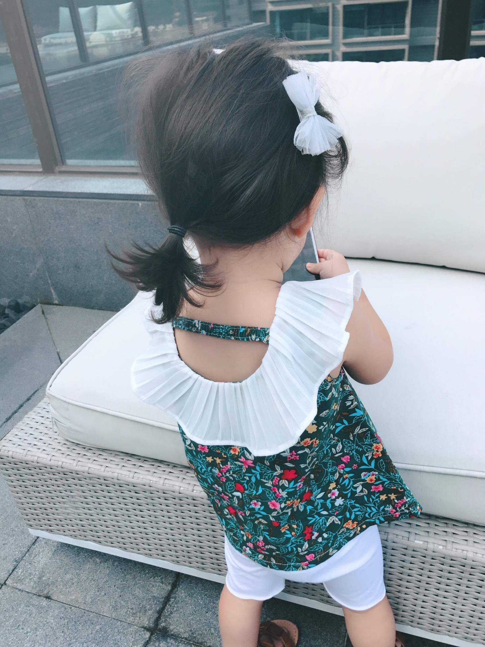 【抢】女童夏 碎花衬衫上衣 百褶领绿色花娃娃衫