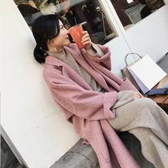韩国代购2018流行双面羊绒大衣女秋冬韩版新款森系中长款毛呢外套