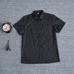 新款 夏装 JK制服  白领商务女装黑色短袖衬衫