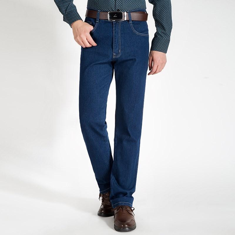 2017男士父亲装中年高腰牛仔裤秋款休闲裤宽松大码免烫直筒裤包邮
