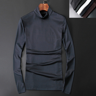 丝光棉半高领打底小衫男装大码秋衣长袖体恤潮 修身男士纯色T恤冬