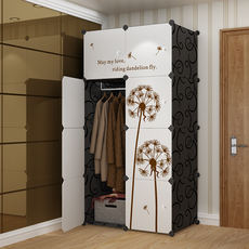 Simple cloth wardrobe single small hanging assembly plastic folding storage renting home simple modern economical wardrobe