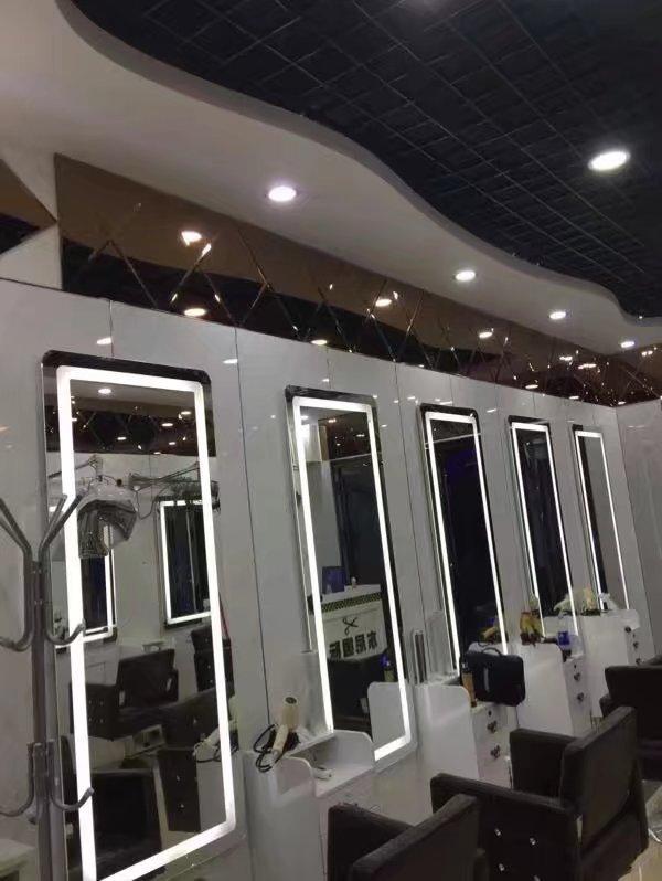 美发镜台理发店镜子LED带灯欧式美容院发廊镜化妆单面剪发镜定制