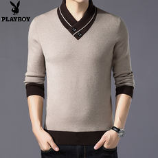 Playboy authentic sweater men's v-neck winter thick warm sweater cashmere two buckle cashmere sweater tide