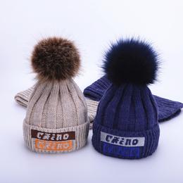 儿童帽子冬季围巾两件套装加绒保暖男童女童护耳宝宝毛线帽1-8岁2