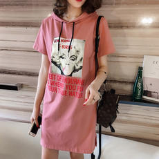 2018 summer new Korean large size long hooded sweater loose short-sleeved fashion fat MM print dress