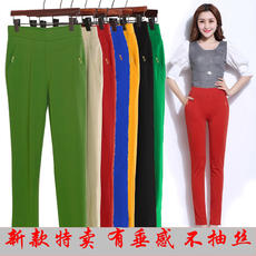 Summer new middle-aged pants thin section pants high waist stretch XL color Slim mother loaded summer