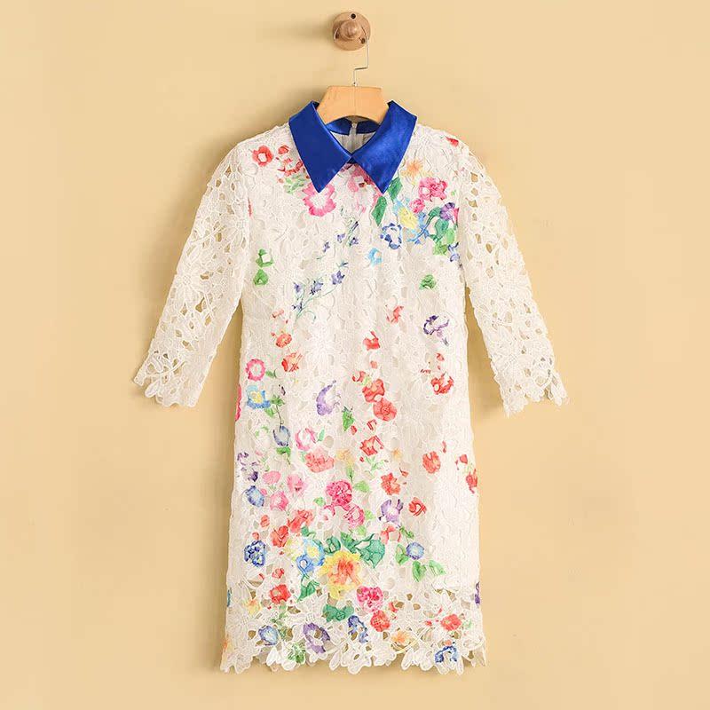 2018春秋款新款韩版蕾丝连衣裙女士中袖中长款打底裙子 NW-620388