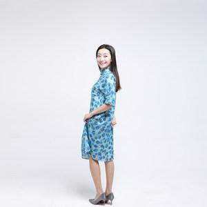 瑞蚨祥连衣裙女气质款瑞蚨祥苎麻旗袍30岁妈妈穿的中短裙浅色盘扣
