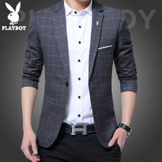 Playboy Men's Autumn Casual Suit Korean Slim Youth Shirt Plaid Small Suit Male British Jacket