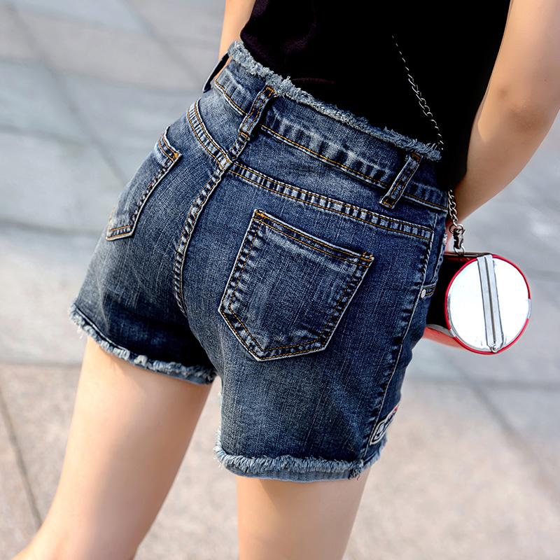 高腰牛仔短裤女夏2018新款chic显瘦百搭弹力毛边修身韩版时尚热裤
