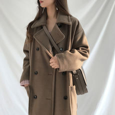 Korean version of the anti-season large size was thin long woolen coat coat winter plus cotton thick student college wind ladies tide