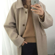 Korean version of the large size loose plus cotton thick long section was thin single-breasted coat woolen coat autumn and winter new student female