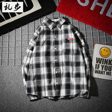 Japanese style brand retro loose plaid long-sleeved shirt male Korean version of the fresh wind student casual shirt jacket thin section