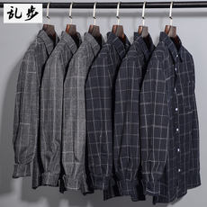 Couple shirt 2019 new plaid long sleeve tide boy Japanese retro slim shirt Hong Kong style casual student jacket