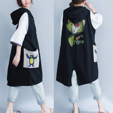 Add fertilizer to increase the code was thin sleeveless vest female coat fat MM200 pounds in the long paragraph loose black hooded cardigan