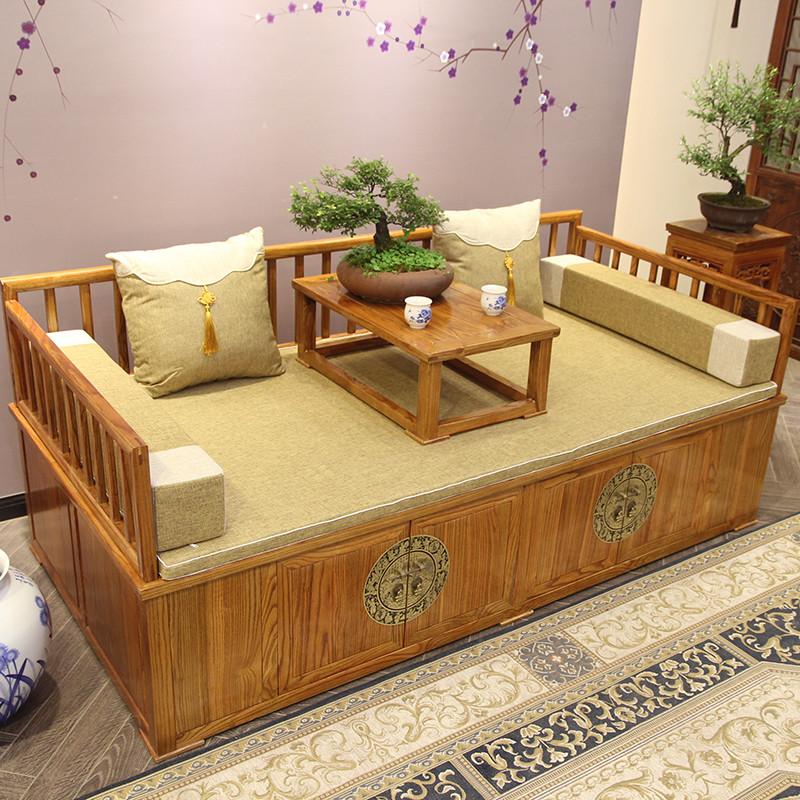 中式实木罗汉床明清沙发床榻榆木罗汉床仿古山水雕花箱式