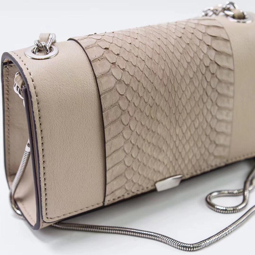 现货韩国新款 warm grey 头层牛皮蛇纹拼接手提小斜挎包链条女包