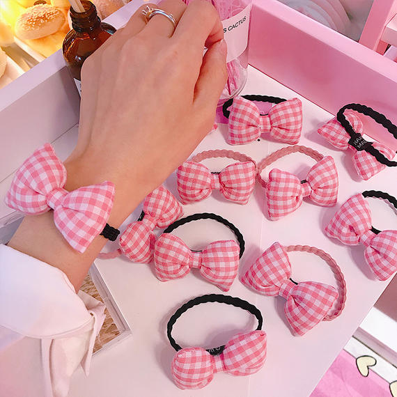 Japan and South Korea Harajuku style soft cute pink plaid bow hair ring rope pink girl heart small fresh hair rope rubber band