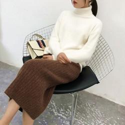秋冬季新款羊毛长裙加厚针织半身裙女中长开叉一步裙包臀毛线裙子