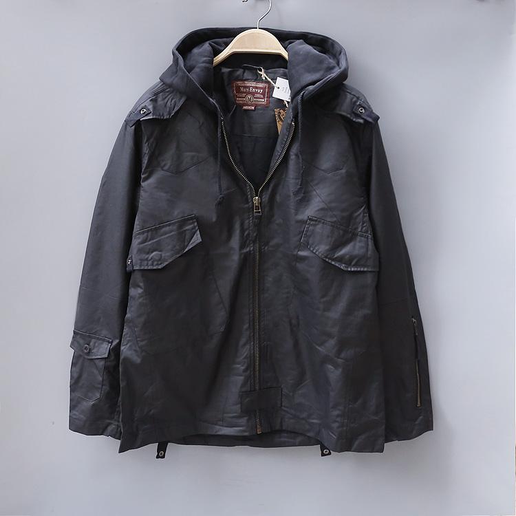美式休闲  纯棉涂层连帽的夹克 春秋外套 男装有内衬 大码