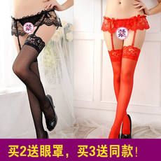 Sexy women's t-shirt thong garter suit sexy stockings stockings European and American lace garter suit