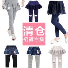 女童裙裤精梳棉修身宝宝长裤 2018春季清仓童装假两件儿童打底裤