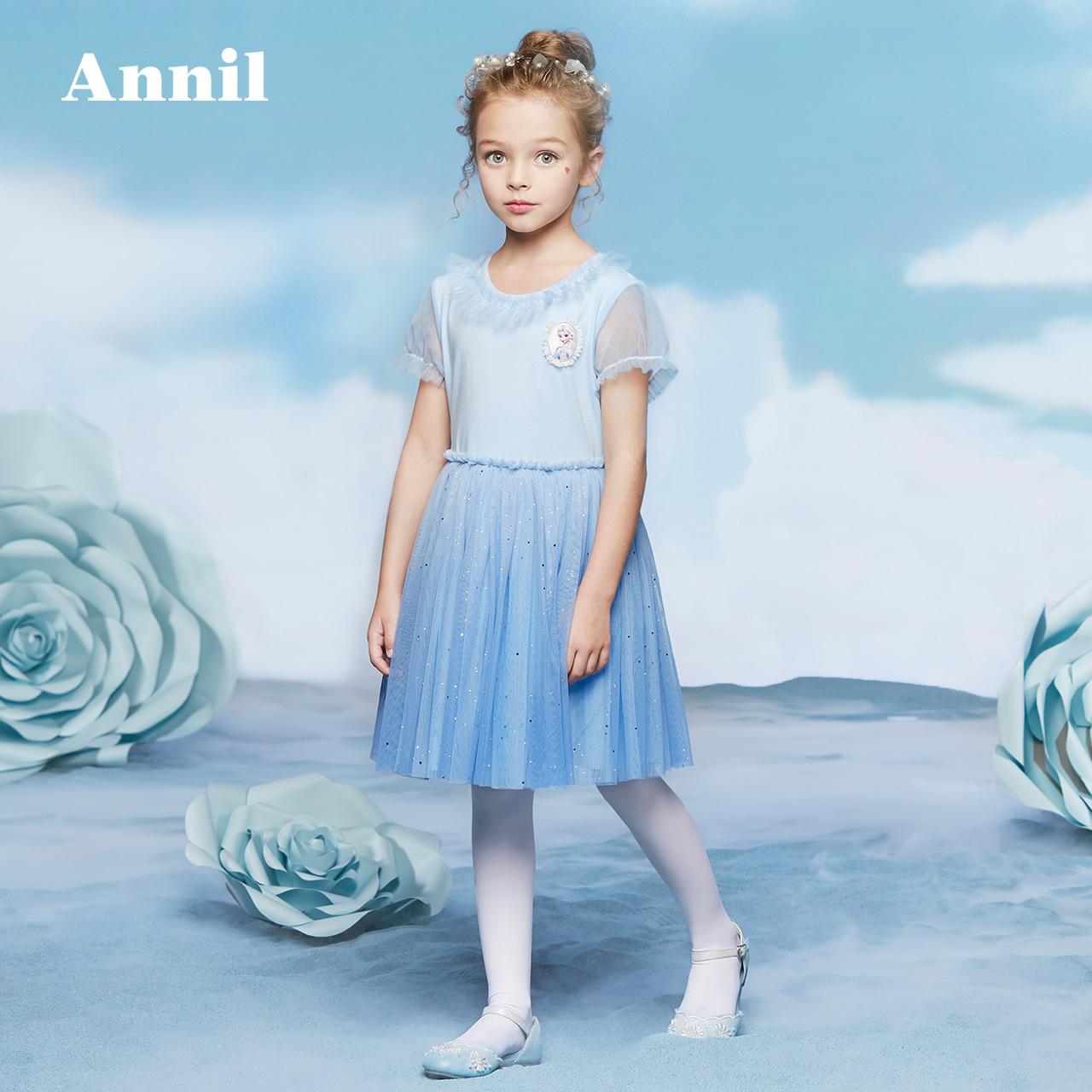 安奈儿童装女童连衣裙2018夏新款迪士尼爱莎公主蓬蓬裙EG823282可领取领券网提供的20元优惠券