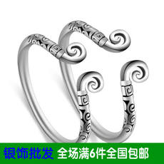 S925 sterling silver ring holy circle couple ring couple ring Xiangyun carved retro old Thai silver ring wholesale