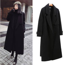 Anti-season clearance Korean version of the knee black woolen coat female winter loose tie in the long double-sided woolen coat