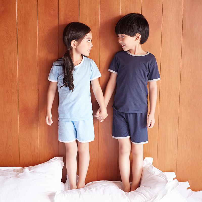 儿童夏季男童空调服女童短袖夏装睡衣薄款纯棉男孩宝宝家居服套装