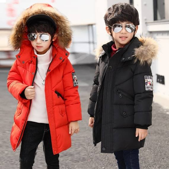 Boys yellow cotton jacket 2-12 years old children thickening cotton long cotton coat baby down small children cotton clothes