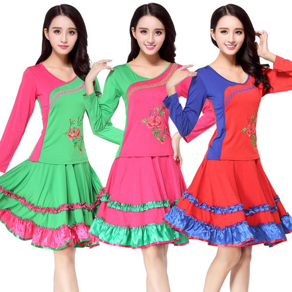 Square dance costume new suit Spring new long sleeve embroidery dance costume 1102