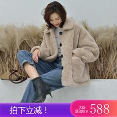 Wool fur coat autumn and winter composite fur one large particle shape imported sheep sheared lamb hair female short paragraph