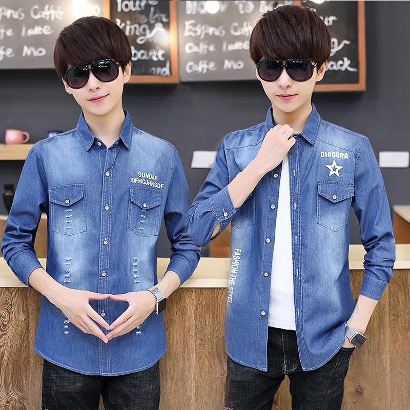 大童春秋季12胖男孩13-14-15-16-17岁牛仔长袖衬衫韩版学生薄外套