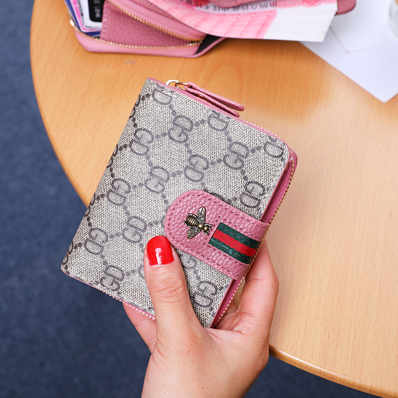欧美大牌钱包女短款多卡位卡包学生折叠印花女士钱夹薄款小钱包潮