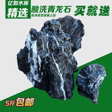 Pickled Qinglongshi fish tank Aquarium landscaping rockery landscaping wood fossil pinestone pickling Qinglong stone 5 kg