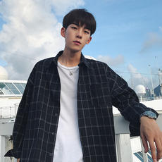 Thin plaid shirt Korean version of the handsome jacket long-sleeved casual men's shirt loose Hong Kong wind ins trend shirt male