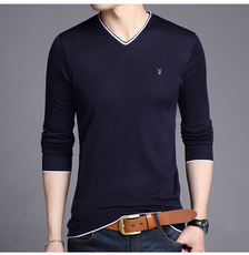 Playboy autumn and winter long-sleeved t-shirt V-neck men's sweater sweater long-sleeved bottoming shirt sweater shirt tide