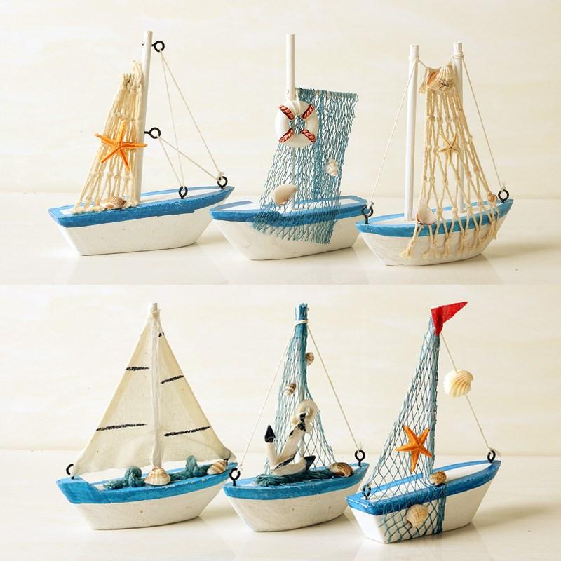 手工地中海帆船模型 一帆风顺船摆件装饰品 创意木质小木船工艺品图片