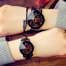 Korean version of the simple female middle school student fashion ulzzang men's steel belt waterproof quartz couple watch pair