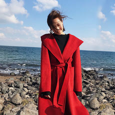 SR2017 autumn and winter new loose long section lazy wool double-sided wool coat hooded cashmere coat female