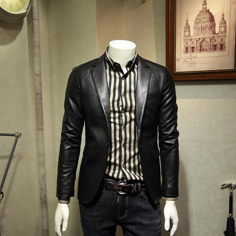 摩纳纳原创春季新款男士仿皮短款皮衣修身商务皮西装休闲外套2018
