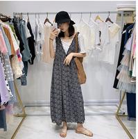 韓國2019夏新款寬松百搭碎花蕾絲邊性感V領無袖吊帶連衣裙女中長