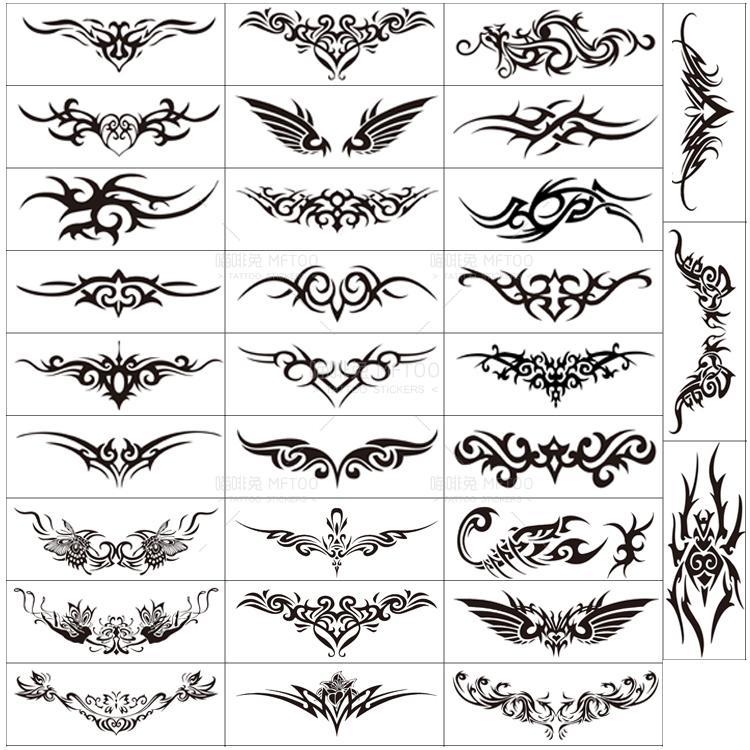 30张纹身贴 防水 男女手臂手腕环状腹部长条腰部脖子环形图腾刺青图片