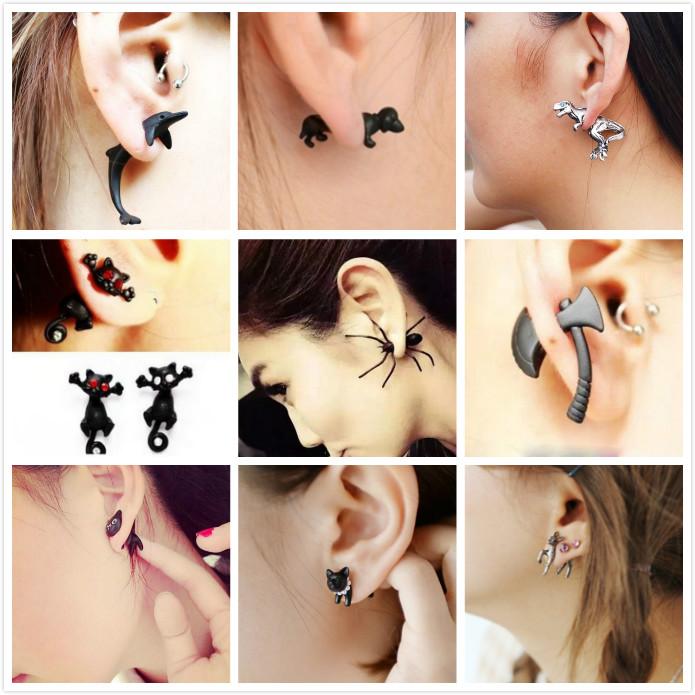韩版饰品 明星同款朋克蜘蛛前后式时尚耳饰耳圈耳钉耳环女 单个价