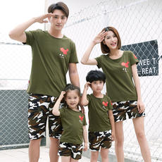 Family fitted summer 2018 new cotton short-sleeved t-shirt camouflage family set A family of three four-family home improvement