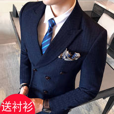 Korean version of the self-cultivation double-breasted suit suit hair stylist short small size groom married male suit three-piece suit